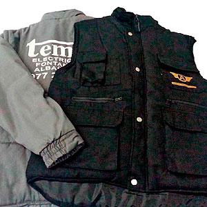 Chalecos negro y gris ropa de trabajo logo empresa