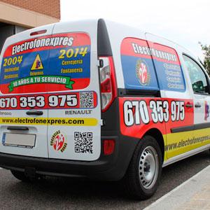 Rotulación de vehiculos furgoneta electrofonexpres