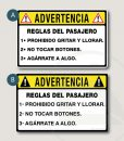 ! ADVERTENCIA ! Reglas del pasajero pegatinas vinilos stickers