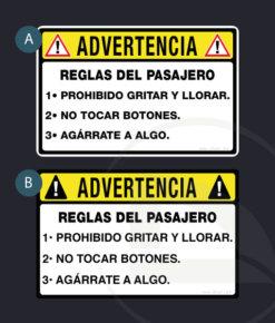 ! ADVERTENCIA ! Reglas del pasajero pegatina adhesivo vinilo