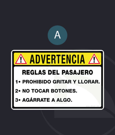 pegatina  ! ADVERTENCIA ! Reglas del pasajero vinilo sticker