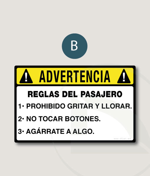 ! ADVERTENCIA ! Reglas del pasajero pegatina vinilo sticker