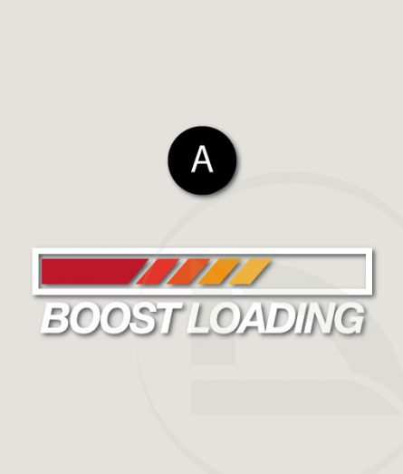 Pegatina Boost loading con carga de rojo, naranja a amarillo