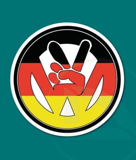 pegatina vinilo VW volkswagen paz con bandera alemana