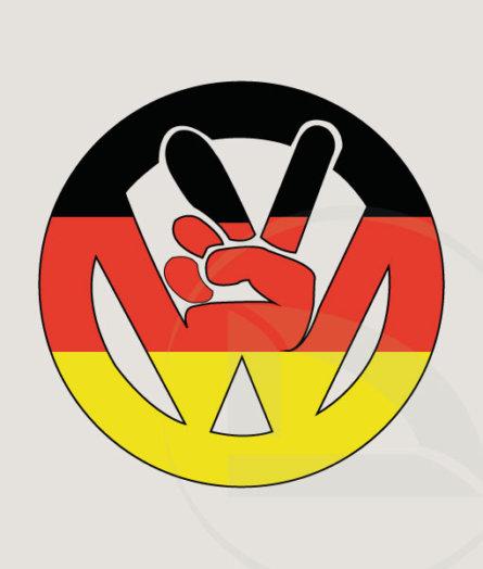 VW volkswagen paz con bandera alemana pegatina sin fondo